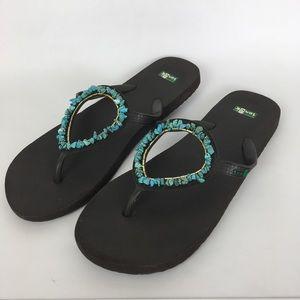 Sanuk Beaded Sandals Turquoise Size 9.5